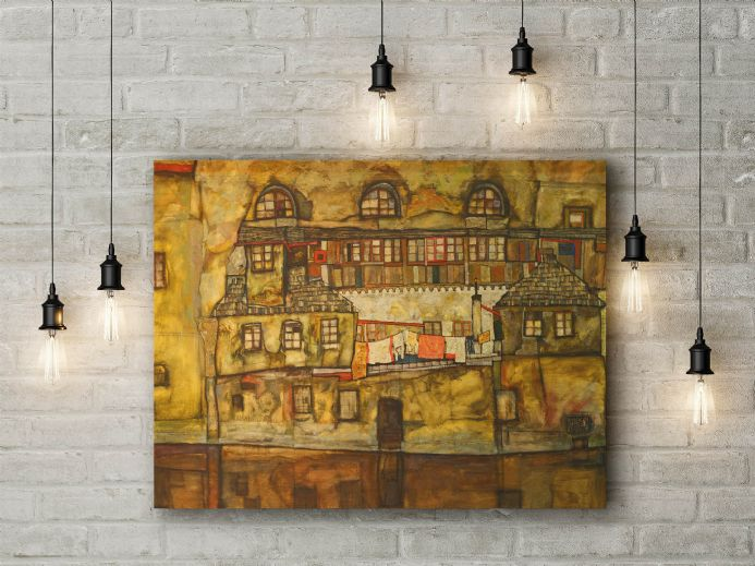 Egon Schiele: House Wall on the River. Fine Art Canvas.